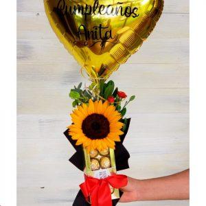 R34- Ramo Girasol Arreglado con globo y chocolates